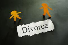 Torn piece of paper with divorce text and paper cpuple figures Stock Photos
