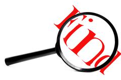 Magnifying glass with red find, on white Stock Illustration