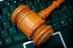 gavel keyboard - stock photo