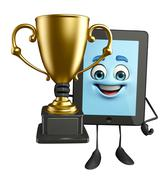 tab character with trophy - stock illustration