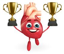 heart character with trophy - stock illustration