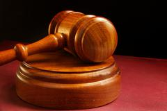 Stock Photo of closeup of a judges wooden court gavel