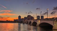 West Palm Beach City Skyline Downtown Buildings Royal Park Bridge Stock Footage