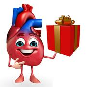 heart character with gift box - stock illustration