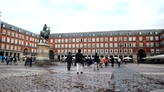 Plaza Mayor in Madrid, Spain Stock Footage