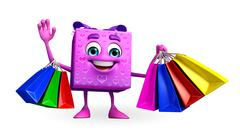 gift box character with shopping bag - stock illustration