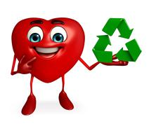 Heart shape character with recycle icon Stock Illustration