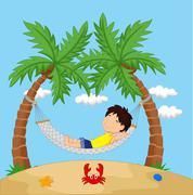 Boy cartoon relaxing in a hammock Stock Illustration