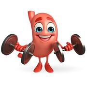 Cartoon character of stomach with dumbells Piirros
