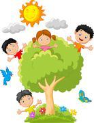 Kids cartoon playing on tree - stock illustration