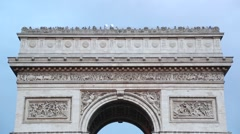 Arc de Triomphe in Paris roof top with tourists Stock Footage