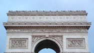 Stock Video Footage of Arc de Triomphe in Paris roof top with tourists