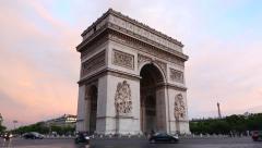 Arc de Triomphe in Paris at dusk, traffic Stock Footage