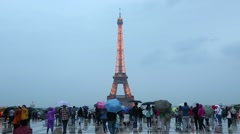 Paris, Eiffel Tower view from Trocadero with tourists Stock Footage