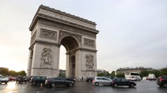 Arc de Triomphe in paris in the afternoon Stock Footage
