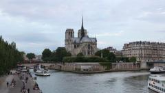 Notre Dame cathedral in Paris in the evening Stock Footage
