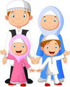 Happy Muslim family cartoon Stock Illustration
