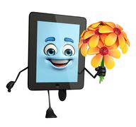 tab character with flowers - stock illustration