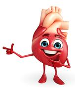 heart character with pointing pose - stock illustration