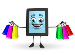 tab character with shopping bags - stock illustration