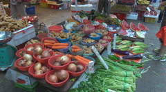 Delicious vegetable sale market street Hong Kong Downtown day fresh exotic fruit - stock footage