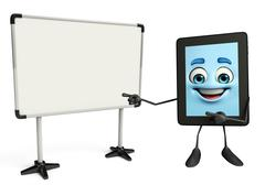 tab character with display board - stock illustration