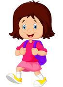 School girl cartoon walking Stock Illustration