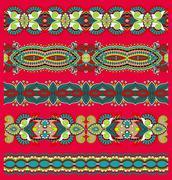 seamless ethnic floral paisley stripe pattern, border set - stock illustration