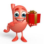 Cartoon character of stomach with gift box Piirros