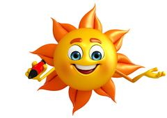 sun character with pen - stock illustration