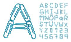 Letters and numbers blue clips Stock Illustration