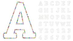 Color pushpin letters and numbers Stock Illustration