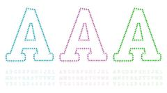Stock Illustration of green, blue and pink pushpin letters and numbers