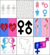 Stock Illustration of set 9 background men and women icons