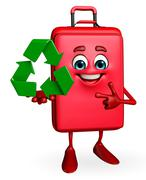 travelling bag chatacter with recycle icon - stock illustration