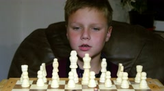 Little Boy Fascinated By The Game Of Chess 4k Stock Footage