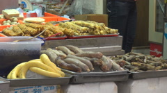 Delicious fresh vegetable sale streetfood famous market place Hong Kong Downtown - stock footage