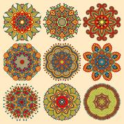 Circle lace ornament, round ornamental geometric doily pattern c Stock Illustration