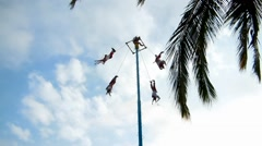 Mayan pole dance voladores 1237 Stock Footage