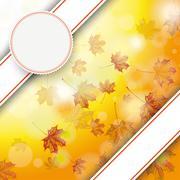 autumn foliage fall bevel double banner emblem - stock illustration