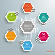 6 colored hexagons background halftone cylce Stock Illustration