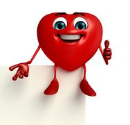 heart shape character with sign - stock illustration