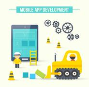 Flat style vector illustration concept of mobile app development - stock illustration