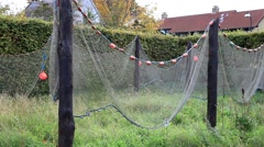Commercial Fishing Net Hanging to Dry Stock Footage