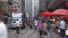 Timelapse busy road traditional market Hong Kong asian lifestyle crowded people  Stock Footage