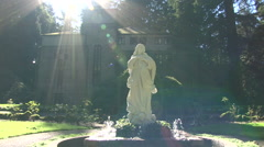 Monastery and The Statue of Mary Fountain Stock Footage