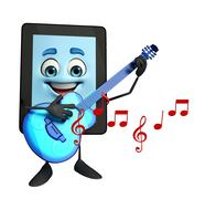 tab character with guitar - stock illustration