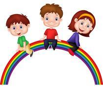 Cartoon children sitting on rainbow Stock Illustration