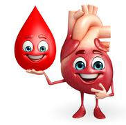 heart character with blood drop - stock illustration
