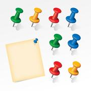 Colorful pins set with paper note - stock illustration